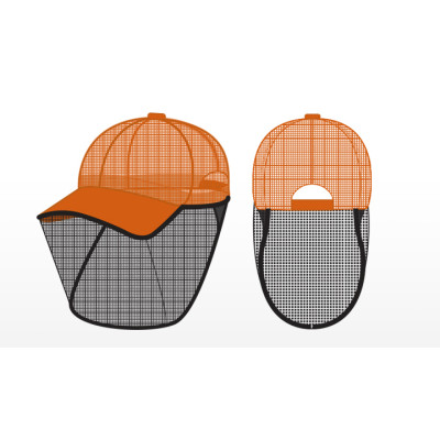 hi-viz orange mesh detasseling cap with bettervue mesh1